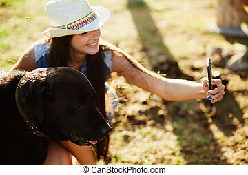 photo, selfie, chien