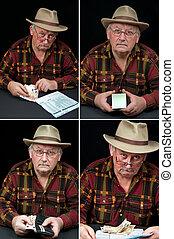 senior male portrait, man with money worries