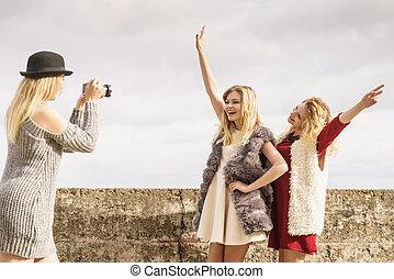 Photo shoot of fashion models