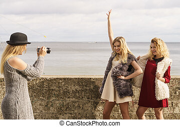 Photo shoot of fashion models