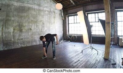 Photo shooting with man dancer