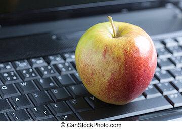 apple on laptop