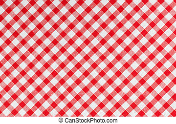 checked fabric , tablecloth texture - photo shot of checked...