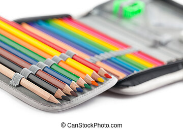 crayons in pencil box