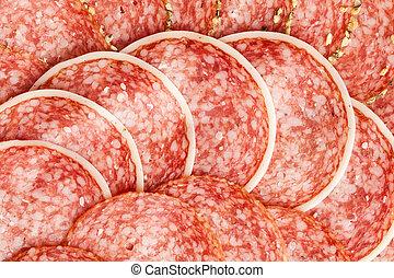 slices of fresh salami