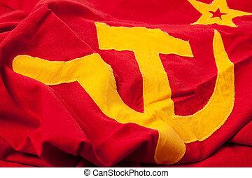 photo shot of soviet flag