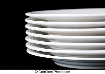 white plate on black background