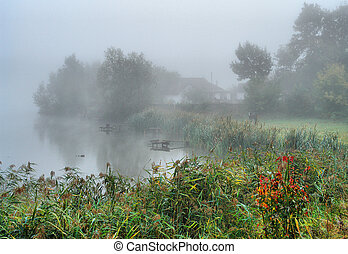 Autumn fog over the lake