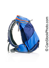 Photo side view of tourist backpack isolated on empty white...
