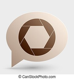 Photo sign illustration. Brown gradient icon on bubble with shadow.