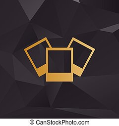 Photo sign illustration. Golden style on background with polygons.