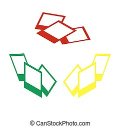 Photo sign illustration. Isometric style of red, green and yellow icon.