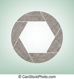 Photo sign illustration. Vector. Brown flax icon on green background with light spot at the center.