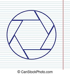 Photo sign illustration. Vector. Navy line icon on notebook paper as background with red line for field.