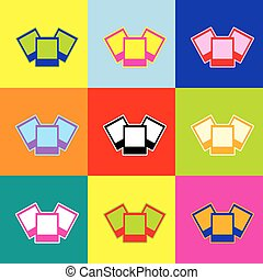 Photo sign illustration. Vector. Pop-art style colorful icons set with 3 colors.