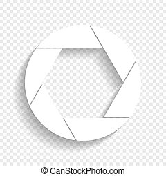 Photo sign illustration. Vector. White icon with soft shadow...