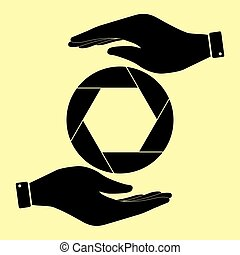 Save or protect symbol by hands. - Photo sign. Save or...