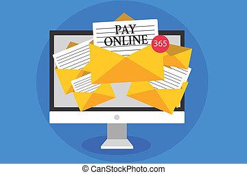 photo, signe, informatique, virtual., service, payer, n'importe quel, enveloppes, papiers, conceptuel, réception, texte, site web, achat, projection, important, utilisation, email, carte, messages, crédit, produits, online., ou