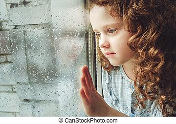 photo., smutny, patrząc, okno., dziecko, poza, toning
