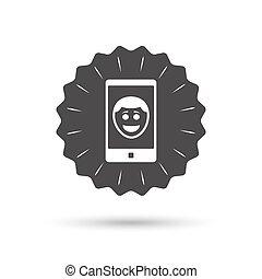 photo, soi, symbole., signe, sourire, icon., figure, selfie