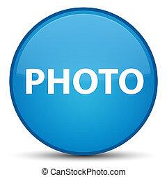 Photo special cyan blue round button