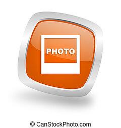 photo square orange glossy chrome silver metallic web icon