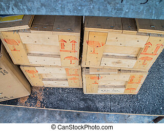 Cardboard boxes on pallet.