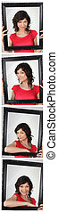 Photo strip of woman holding empty frame