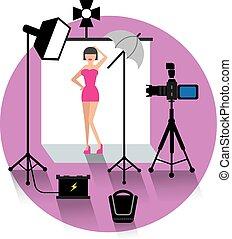 photo studio and model concept icon