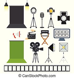 Photo studio and video porodaction studio objects icons. Equipment for production of films and advertising, cinema. Flat vector cartoon illustration. Objects isolated on a white background.