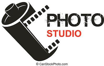 Photo studio camera film vector icon