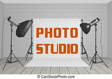 PHOTO STUDIO concept - 3D illustration of PHOTO STUDIO title...