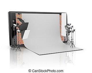 Photo studio concept. Photo Studio built-in smart phone on a...