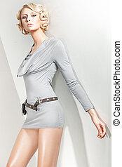 photo studio, de, une, séduisant, blonds, beauté