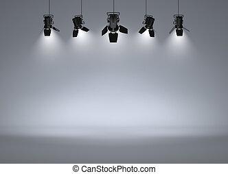 photo studio - Empty studio with headlights on