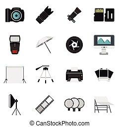 Photo studio equipment icons set, flat style - Photo studio...