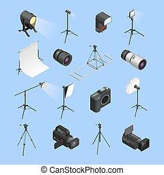 Photo Studio Equipment Isometric Icons Set
