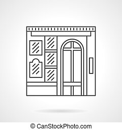 Photo studio facade flat line vector icon