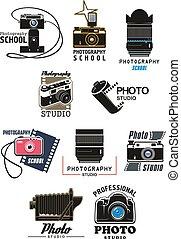 Photo studio icon set with camera, lens and film