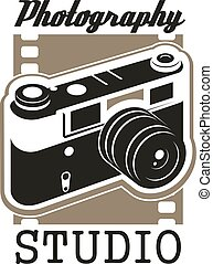 Photo studio icon with isolated retro camera
