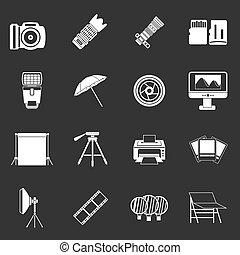 Photo studio icons set grey