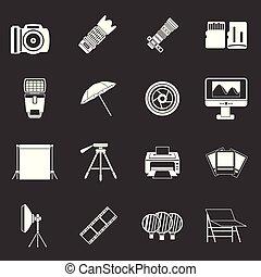 Photo studio icons set grey vector