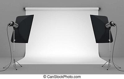 photo studio - Empty photo studio with lighting equipment