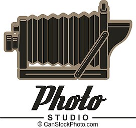 Photo studio symbol of retro folding camera