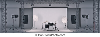 photo studio with a black drum set. 3d rendering