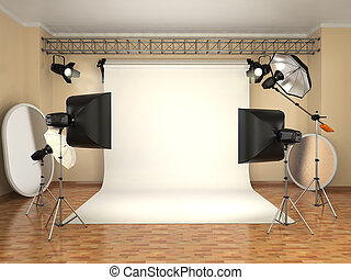 Photo studio with lighting equipment. Flashes, softboxes and...