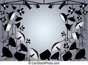 Photo studio with lights, vector
