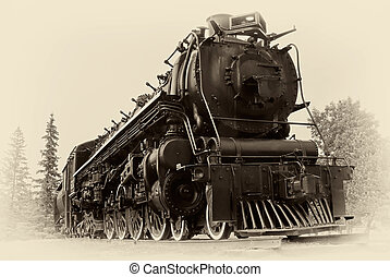 photo, style, train, vapeur, vendange