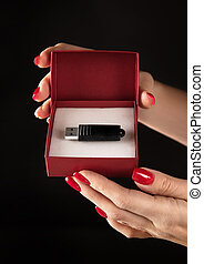 photo, symbole, -, conceptuel, pendrive, sauvegarde