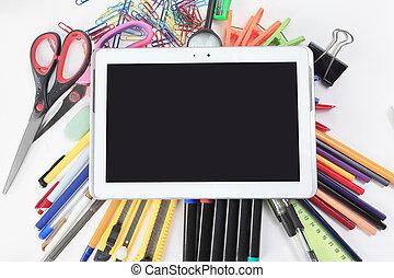 .photo, tabliczka, biurowa przestrzeń, cyfrowy, zaopatruje, kopia